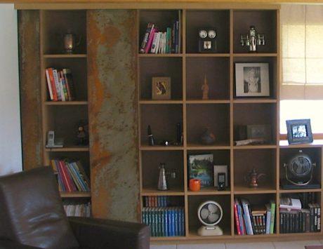 porte bibliothèque coulissante en acier rouillé